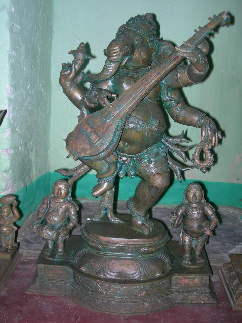 BRONZE DANCING GANESHA WITH VEENAI