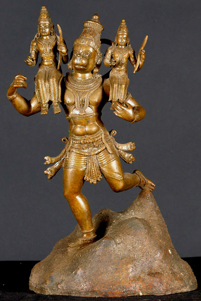 BRONZE HANUMAN STATUE WITH RAMA AND SITHA