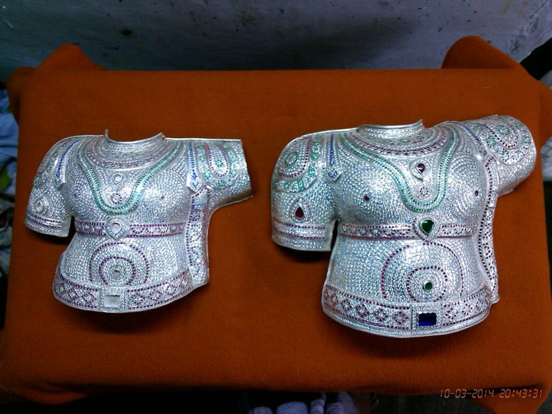 PURE SILVER RAMA AND LAKSHMANA SILVER WITH STONE STUDDED MARBU ANGI
