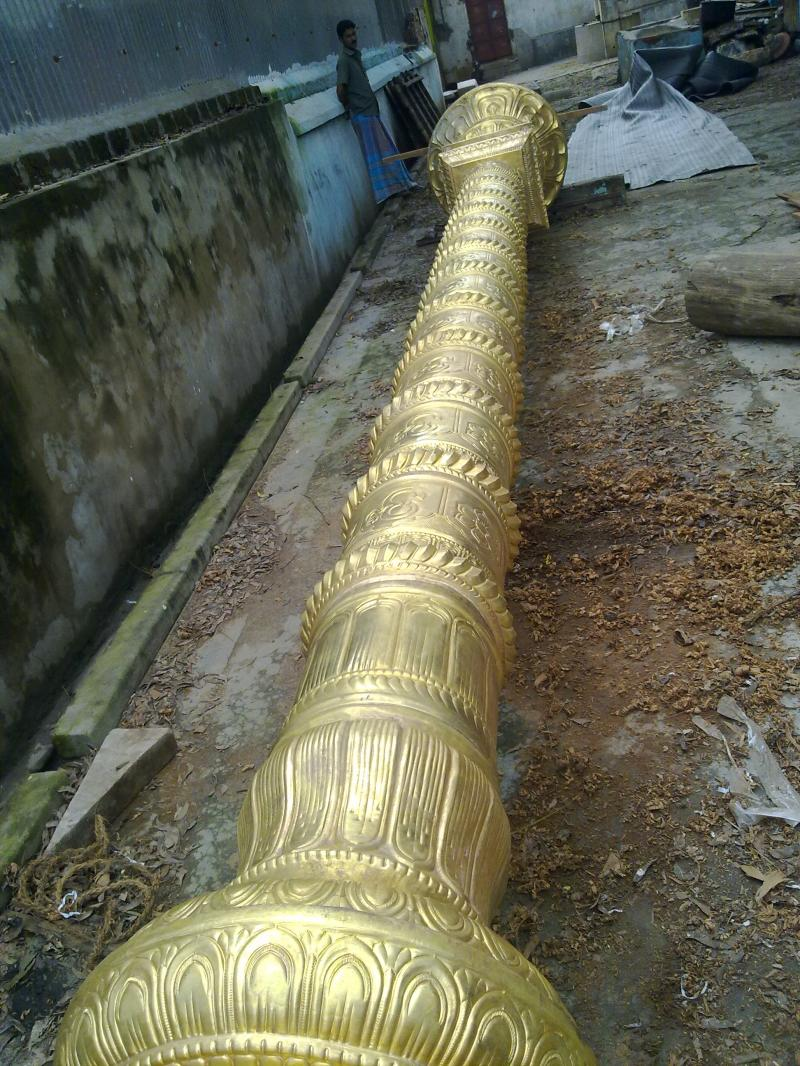 COMPLETED KODIMATAM WITH BRASS SHEET ORNAMENTAL WORK BEFORE INSTALLING