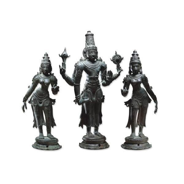 BRONZE PERUMAL SRI DEVI AND BHU DEVI