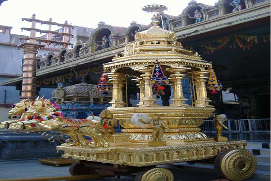 TEAK WOODE RATHAM WITH COPPER WITH 24 CARET GOLD ELECTRO PLATED TEMPLE CAR,  RAT