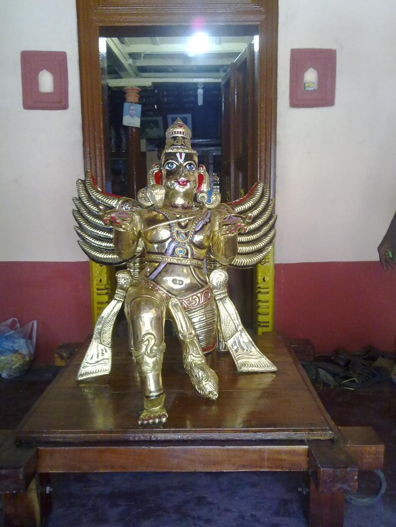 TEAK WOODEN GARUDA VAHANAM WITH BRASS SHEET COVER