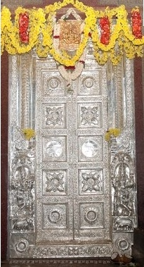 TEAK WOODEN TEMPLE DOOR WITH PURE SILVER SHEET COVERED