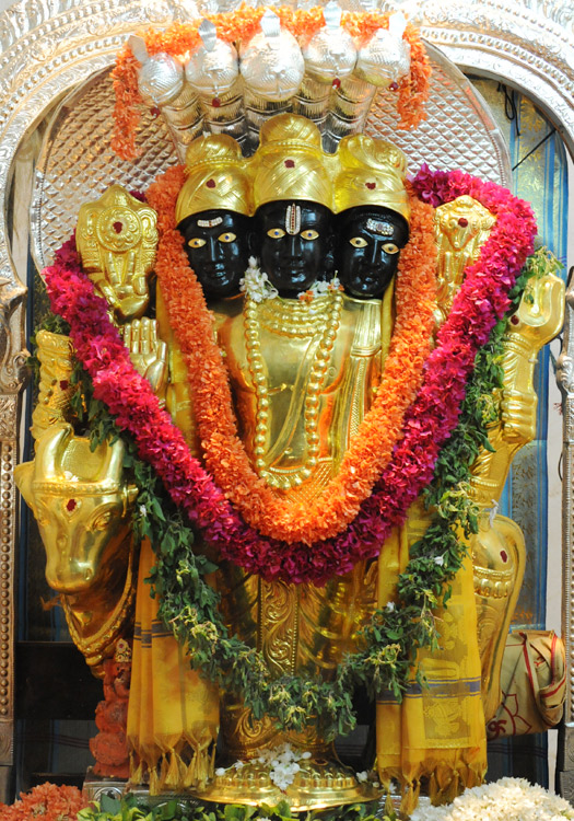 COPPER SHEET MADE WITH 24 CARET ELECTRO GOLD PLATING SWAMY DATTATREYA KAVACHAM