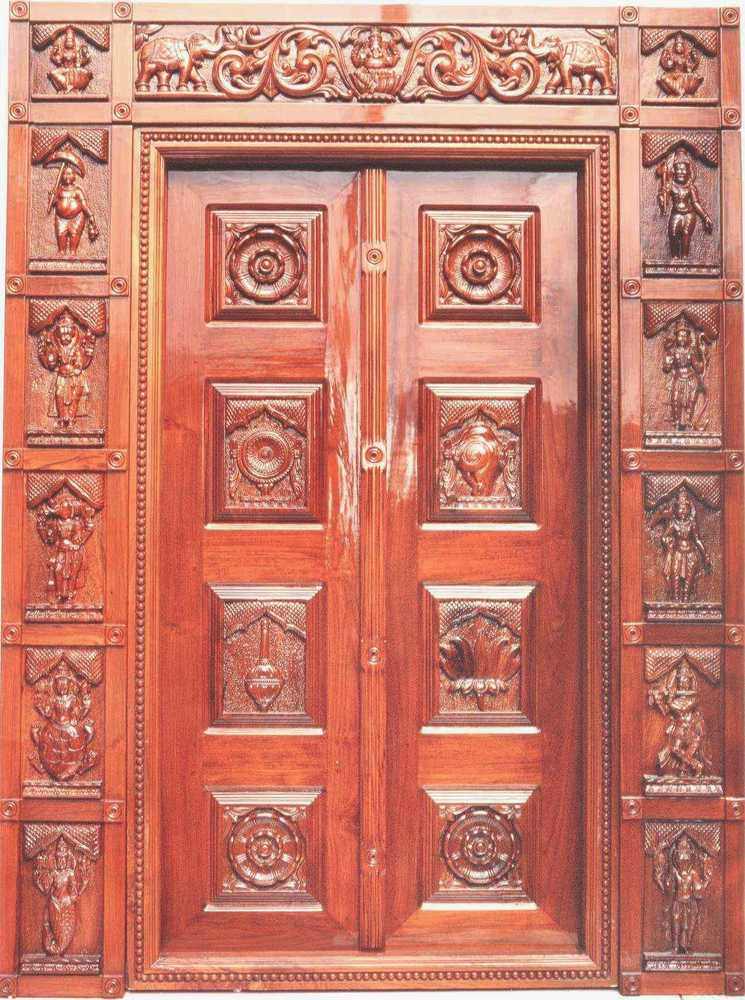 TEAK WOODEN TEMPLE DOOR WORK