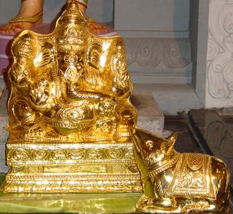 COPPER WITH ELECTRO GOLD PLATED GANESHA KAVASAM