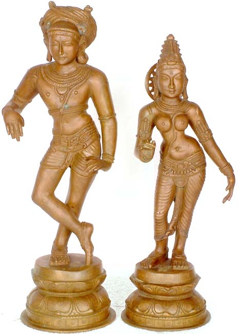 BRONZE RISHABA DEVAR AND SHIVAGAMI
